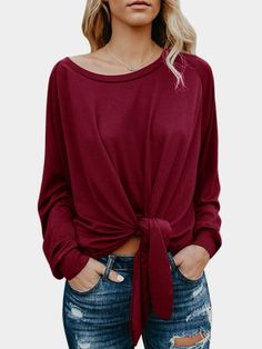 05de98e3358 Womens Long Sleeve Blouse Shirts Casual Knot Tie Front Loose Tee Tops Off  Shoulder T-Shirt