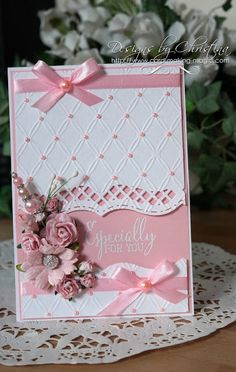 Flowers, Ribbons and Pearls: Tuesday Tutorial - Bracket Borders OneCard by Christina Griffiths [Spellbinders Matting Basics A and B, Bracket Borders One; (e/f) Couture Creations Tied Together]especially for you card by Christina Griffiths. Birthday Cards For Women, Handmade Birthday Cards, Birthday Gifts, Handmade Greetings, Greeting Cards Handmade, Spellbinders Cards, Embossed Cards, Pretty Cards, Flower Cards