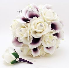 Purple White Real Touch Bridal Bouquet Picasso Calla Lilies Roses and Rhinestones - White Plum Purple Grooms Boutonniere Lis Calla Violet, Purple Calla Lilies, Purple Lily, Calla Lily Bouquet, Plum Purple, Cascading Bridal Bouquets, Purple Wedding Bouquets, Bridesmaid Flowers, Bridal Flowers