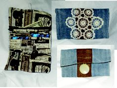 Wallet with 8 card holder, cash pocket and change purse with zipper. Made from denim, burlap, French themed cotton fabric and vintage doily with button and elastic closure