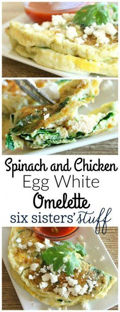Spinach and Chicken Egg White Omelette from SixSistersStuff.com | This healthy breakfast recipe is packed with protein and great flavors! Combine veggies and rotisserie chicken with egg white, then serve with salsa and feta. Healthy, unique, and yummy!