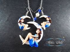 At the moon light - Necklace and earrings by Akiko-s-World