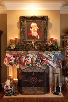 Christmas Mantels @Linda Jones that's what your mantel looks like with those stockings! haha