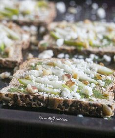 The Toast with The Most,make your toast delicious with Dave's Killer Bread and Lauren Kelly Nutrition, Walnut Pesto with Sliced Pears and Gorgonzola Cheese on Toast