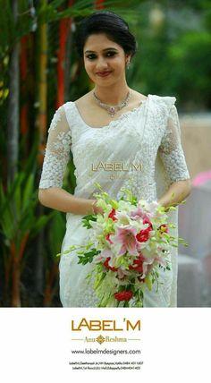 Bridal saree white blouse designs Ideas for 2019 Christian Wedding Dress, Christian Bridal Saree, Christian Bride, Christian Weddings, White Saree Wedding, White Bridal, Red Wedding, Wedding Decor, Wedding Ideas