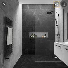 Black Tile Bathrooms, Bathroom Grey, Bathroom Layout, Dark Tiled Bathroom, Bathroom Ideas, Black Bathroom Floor, Black Floor, Bathroom Wall Tiles, Grey Modern Bathrooms