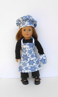 18 Inch Doll Hanukkah Chef's Set Blue and White Star of David Apron, Chef's Hat and Oven Mitt by DonnaDesigned https://www.etsy.com/listing/204967506/18-inch-doll-hanukkah-chefs-set-blue-and?ref=teams_post