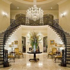 My dream home has a double staircase to the foyer. Foyer Staircase, Double Staircase, Staircase Design, Foyer Design, Entry Stairs, Spiral Staircases, Staircase Ideas, Railing Design, Tile Design
