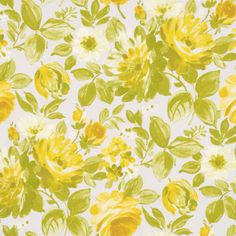 Finesse Curtain Fabric In Chartreuse. This refreshing chartreuse colour palette includes an eye catching tonal floral pattern in shades of green and yellow set on a very pale grey background.