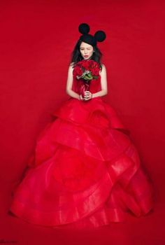Vivien hsu wedding shoot, love the red and mickey ears