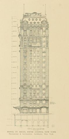 Elevation drawing of the Hotel St. Regis in 1904, New York