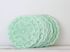 Mint Doilies by MailboxHappiness on Etsy