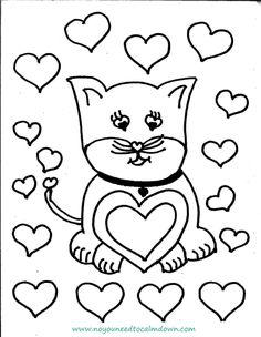 Cute Cat Valentines Day Coloring Page