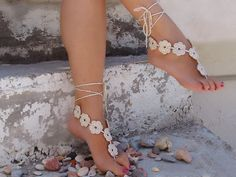Crochet Flower Light beige Barefoot Sandals