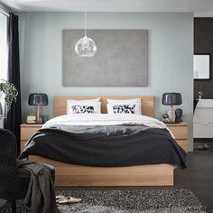 MALM Cadre de lit haut - plaqué chêne blanchi, Lönset - IKEA