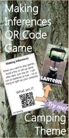 """Camping themed QR code """"What Am I"""" game to practice making inferences. Uses camping vocabulary and real photos!"""