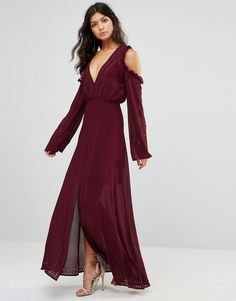 Foxiedox Cold Shoulder Lace up Maxi