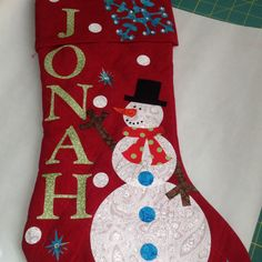 Boy Christmas stocking handmade by mom