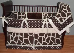 Hampton Baby Bedding  This custom 3 pc baby crib bedding set includes a modern plush bumper pad, tailored crib skirt, and so soft minky backed and edged blanket.  The modern chocolate and cream polka dots and giraffe print, cream piping and trim, cream grosgrain ties,  and ultra soft chocolate and cream minky combine softness and textured detail. Top quality and a modern touch for your little angel's nursery.
