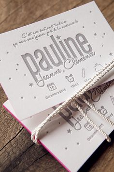 Faire-part de naissance impression letterpress gris clair sur papier coton 450g / letterpress birth announcement