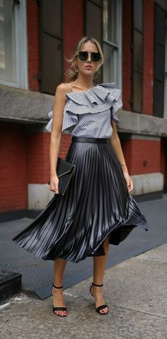 Black and white stripe one-shoulder asymmetric ruffle top, pleated leather midi skirt, black envelope clutch, black ankle-strap sandals + oversized sunglasses {Rebecca Minkoff, Vince Camuto, Bardot, Aqua, affordable fashion, under $100}