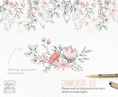 Floral border & bouquet: Rustic hand drawn floral clipart /