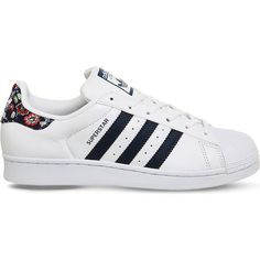 Adidas Superstar 1 leather trainers ($81) ❤ liked on Polyvore featuring shoes, sneakers, adidas trainers, floral print sneakers, adidas shoes, white shoes and flower print sneakers