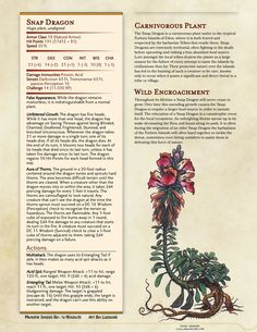 Homebrewing monsters Snap Dragon : Un - homebrewing Monster Concept Art, Fantasy Monster, Dungeons And Dragons Homebrew, D&d Dungeons And Dragons, Mythical Creatures Art, Fantasy Creatures, Plant Monster, Dnd Stats, Anime Comics