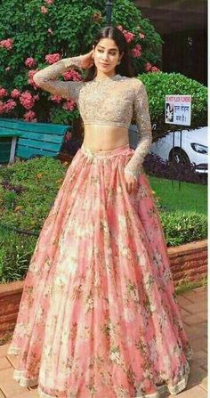 Dresses - Two Piece Lace Prom Dress Indian Gold And Pink Prom Dress With Sleeve Party Wear Indian Dresses, Party Wear Lehenga, Indian Gowns Dresses, Indian Bridal Outfits, Prom Dresses With Sleeves, Dress Indian Style, Indian Fashion Dresses, Indian Designer Outfits, Pakistani Dresses