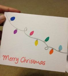 Easy DIY Holiday Crafts - Colored Lights - Click pic for 25 Handmade Christmas Cards Ideas for Kids