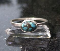 Turquoise Silver Ring, Size 8, Minimalist, Tibetan Turquoise, 925 Sterling Silver, December Birthstone Jewelry