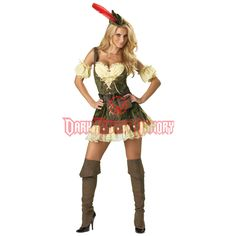 Racy Robin Hood Costume features a sexy medieval corset dress with puff sleevelets. All-inclusive Robin Hood Costume also comes with a petticoat and archer's hat. Costume Robin, Robin Hood Halloween Costume, Costumes Sexy Halloween, Sexy Halloween Costumes, Halloween Kostüm, Adult Costumes, Costumes For Women, Women Halloween, Spirit Halloween