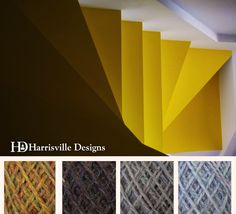 'Stairway' color palette featuring flyWHEEL yarn in Eastview, Gatehouse, Driftwood, and Birch Bark.