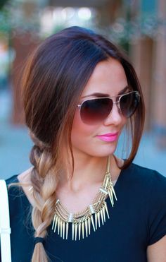 aviators. ombré side braid. pink lip. gold accessory. black top. my style in a nutshell.