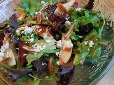 "Just found the food webpage/blog ""Nutmeg Notebook"" and I'm in love. would love this salad right about now!    Pear Walnut Blue Cheese Salad with Cranberry Vinaigrette"
