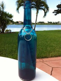 Recycled Wine Bottle Incense Burner Hand Painted in Turquoise with Swirls / Incense Holder & Chain / Cured Glass Paint