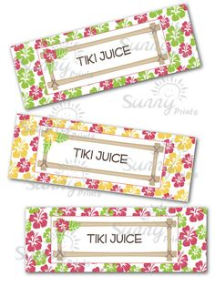 Waterbottle labels for Tiki/Luau/Hula party