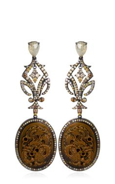 Shop Carved Fossilized Mammoth Dragon And Diamond Earrings by Bochic  - Moda Operandi