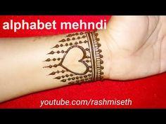 Alphabet Mehndi Design with heart shape in jewelry style || beautiful Henna Tattoo मेहंदी डिजाइन - YouTube Body Art Tattoos, Hand Tattoos, Alphabet Tattoo Designs, Hand Henna, Mehndi, Youtube, Henna, Youtubers, Youtube Movies