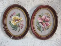 1970s Needle Point Floral Wall Art Pictures ~ Cherry Frame Flower Textile Plaques ~ Vintage