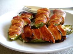 Bacon Jalapeno Poppers. Update:delicious! I used about a 1 inch piece of bacon on  each because my jalapenos were smaller. I also added used cheddar cheese, garlic powder and onion powder to the cream cheese mix. Great! It's a keeper!