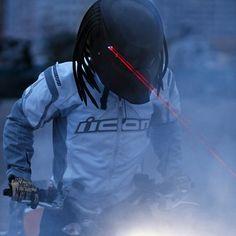 "Dredator 3 Motorcycle Helmet / The Dredator 3 is an upgraded version of the highly popular ""Predator 2"" helmet from NLO Moto. It is the ultimate biker geek helmet designed to look like the predator's face, complete with dreadlocks and battery-powered LEDs that emit laser-like red light beams. http://thegadgetflow.com/portfolio/dredator-3-motorcycle-helmet/"