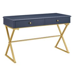 Blue Desk with Gold Legs