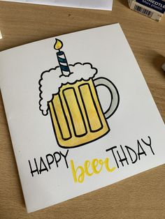 Happy Birthday Drawings, Birthday Card Drawing, Happy Birthday Dad, Dad Birthday Card, Birthday Ideas, Beer Day, Funny Cards, Diy Cards, Diy Gifts