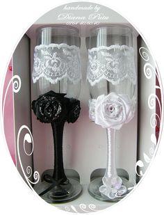 White Wedding Glasses.Price 15 € / 17 $. http://handmadebydianapuiu.com/pahare-miri-nasi/