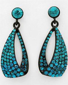 Luxe Beauty Supply - Black Blue Zircon Rhinestone Dangle Post Earring Set  (http://www.lhboutique.com/black-blue-zircon-rhinestone-dangle-post-earring-set/) #FashionJewelry, #LuxeBeautySupply, #FashionAccessories