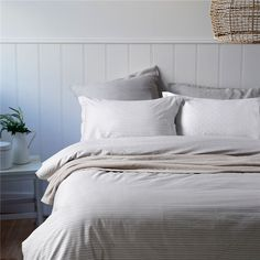Simple Stripes Gray Bedding Set Teen Bedding Dorm Bedding Bedding Collection Gift Idea Gray Bedding, Teen Bedding, Modern Bedding, Pillow Shams, Pillows, Flat Sheets, Floral Style, Bedding Collections, Duvet Cover Sets