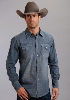 Stetson® Mens Indigo Chambray Garment Washed Long Sleeve Snap Front Cowboy Shirt