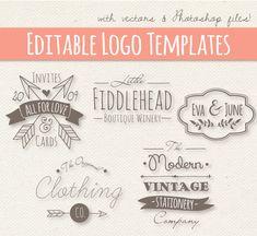 Modern Vintage Style Logo Templates Set 4 // Editable Logo // Small Business // Design // Photoshop PSD // Vector EPS // Commercial Use