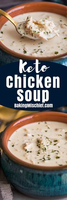"This easy Keto Chicken and ""Rice"" Soup is rich, creamy, and the BEST keto comfort food. 